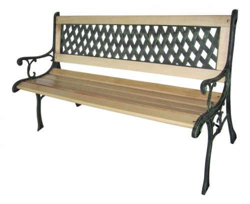 Levná zahradní lavička kombinace kov a dřevo