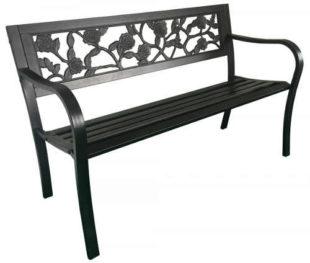 Dekorativní zahradní lavička s růžemi kovová konstrukce plastové latě