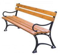 Dřevěná zahradní parková lavice s kovovými područkami