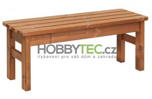 Jednoduchá dřevěná zahradní lavice bez opěradla