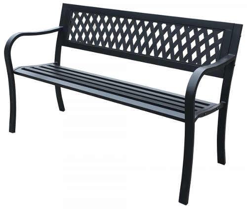 Levná zahradní lavička z odolného kovu a plastu
