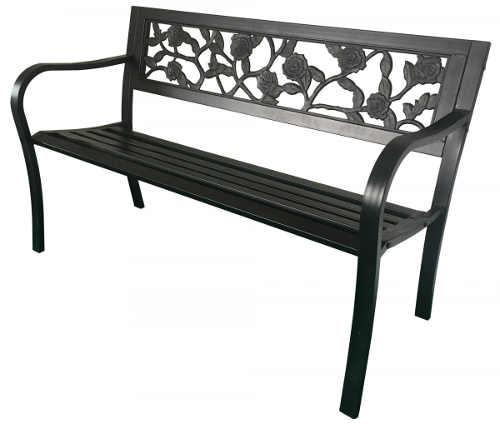 Odolná černá zahradní lavička plast a kov