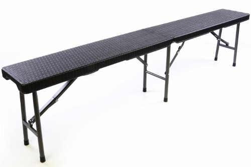 Praktická skládací zahradní lavice - černý ratanový design 180x25 cm