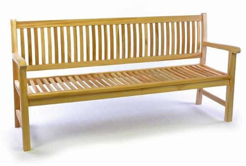 Široká dřevěná zahradní lavička pro 3 osoby