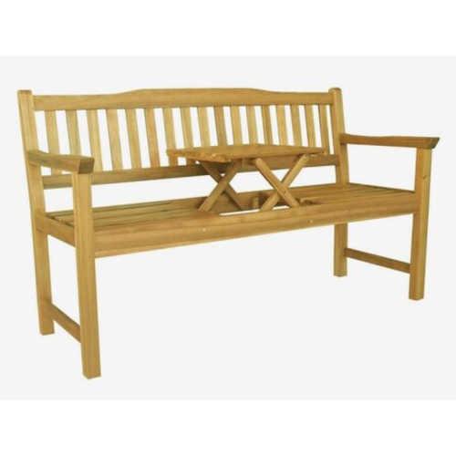 Dřevěná lavička s praktickým stolkem