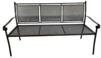 Trojmístná kovová lavička v černém provedení