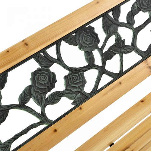 lavička v kombinaci kov, dřevo a plast