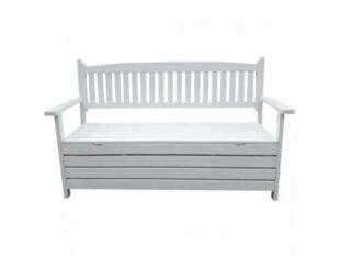 Bílá dřevěná lavička s úložným prostorem