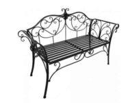 Černá kovová lavička v elegantním designu
