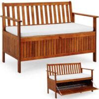 Dřevěná lavička s úložným místem