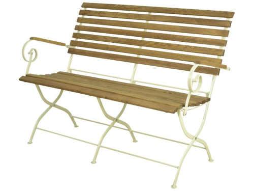 Dřevěná skládací lavice s kovovou konstrukcí