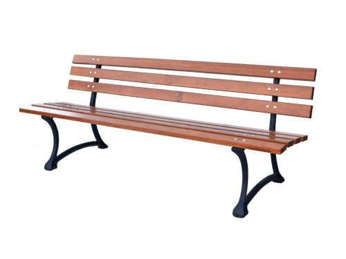 Parková lavice v kombinaci dřeva a kovu