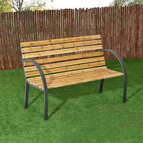 dvoumístná venkovní dřevěná lavička