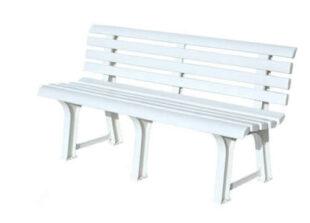 venkovní bílá lavice z plastu